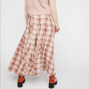 Free People maxi plaid skirt